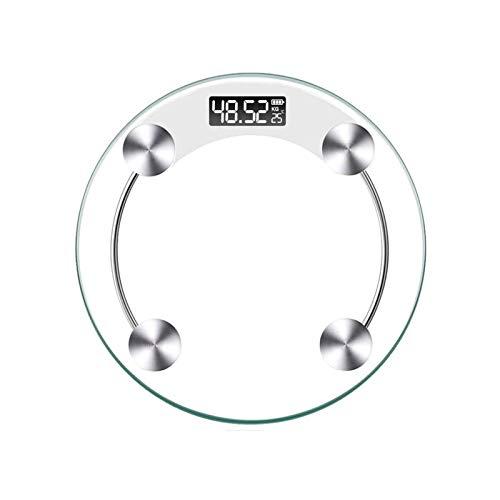 HKJZ SFLRW - Báscula de peso corporal digital para cuarto de baño, 180 kg, pantalla LED grande, medidas de precisión (redonda)