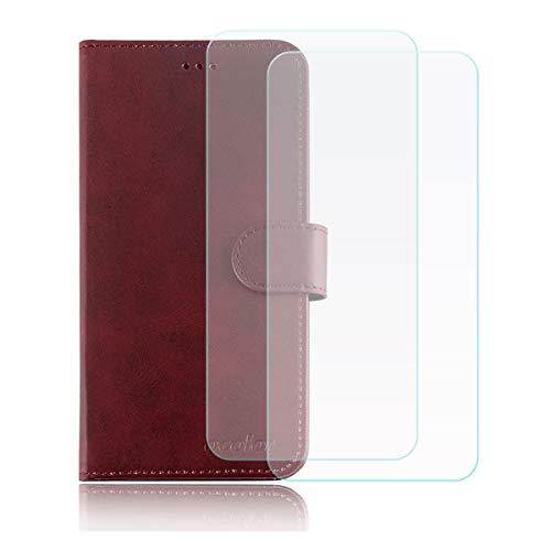 YZKJ Cover für Leagoo T5c Hülle, Flip PU Ledertasche Handyhülle Wallet Tasche Schutzhülle Hülle mit Card Slot & Ständer + [2 Stück] Panzerglas Schutzfolie für Leagoo T5c (5.5