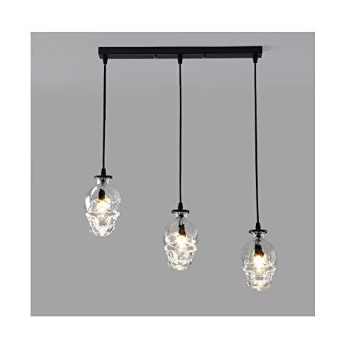 Luz del colgante decorativo loft, barra retro bar restaurante accesorio ajustable lámpara de vidrio luz de techo luz personalizada lámpara (Color : Long strip with three ends)