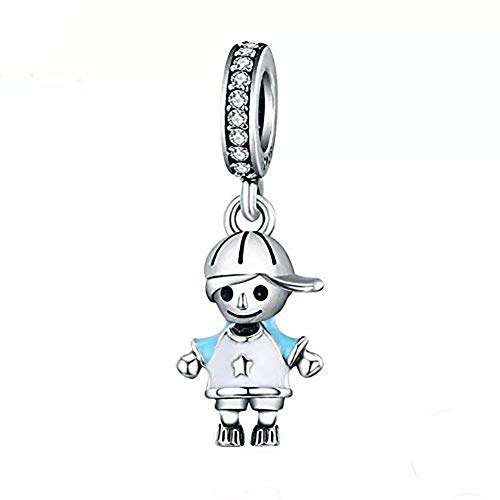 ABAOLA Boy or Girl Dangle 925 Sterling Silver Child Charm Beads for Fashion Charms Bracelet & Necklace (Blue)