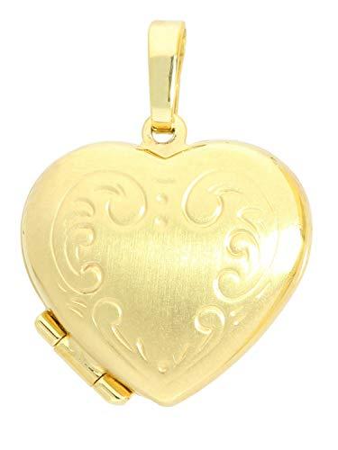 MyGold Medaillon Anhänger Gelbgold 585 Gold (14 Karat) Satiniert Aufklappbar Für 2 Fotos 22mm x 16mm Herzform Herz Kettenanhänger Geschenke Für Frauen Saltaire A-01315-G403