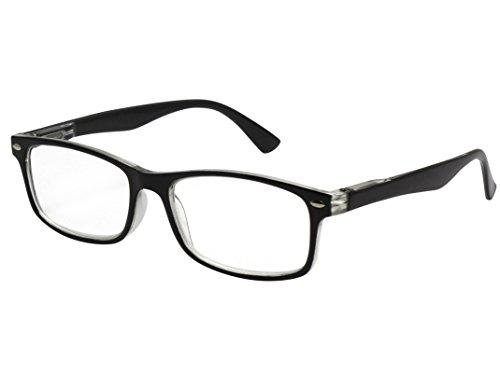 TBOC Gafas de Lectura Presbicia Vista Cansada – Graduadas +2.00 Dioptrías Montura de Pasta Bicolor Negra y Transparente de Diseño Moda para Hombre y Mujer Unisex con Lentes Aumento Leer Ver de Cerca
