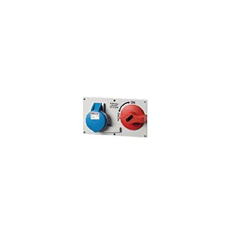 Mennekes 101100029 CEE-fitting met schakelaar en inschakeling, stopcontacten, 230 V, 50-60 Hz, 32 A, 3-polig, IP 44, blauw