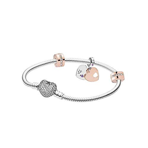 belinia prestige - Damenarmband - Armband Herz Charms, Armband Stil + Charme + Schmuck-Box für Armband (Coeur Argent, 21)