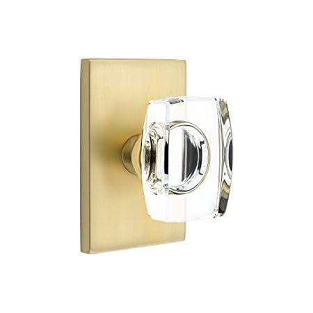 Emtek Privacy Set, Modern Rectangle Rosette, Modern Windsor Crystal Knob (Satin Brass)