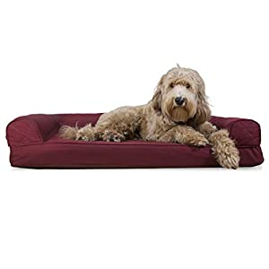 Furhaven Pet Dog Bed – Cooling Gel Memory Foam Quilted Traditional Sofa-Style Living Room Couch Pet Bed with Removable Cover for Dogs and Cats, Wine Red, Large