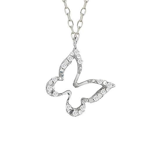 Collar Artlinea de oro blanco y diamantes con mariposa – Luz – CD432-4B