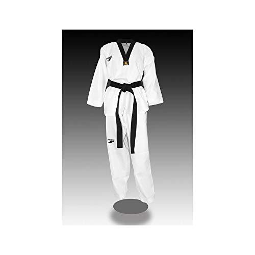 Dorawon Rice - Colletto Nero Dobok Uniforme di Taekwondo, Unisex, Adulto, Bianco, 200 cm