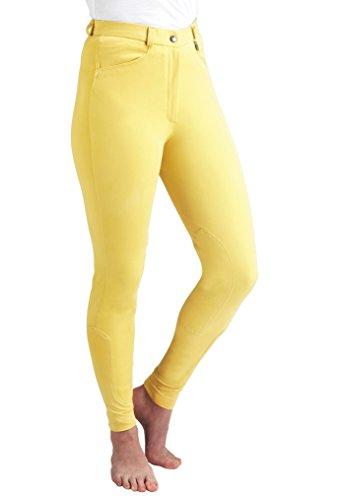 Caldene Competition, Pantaloni da Equitazione a Vita Media Donna, Giallo (Gelb - Canary), 24'
