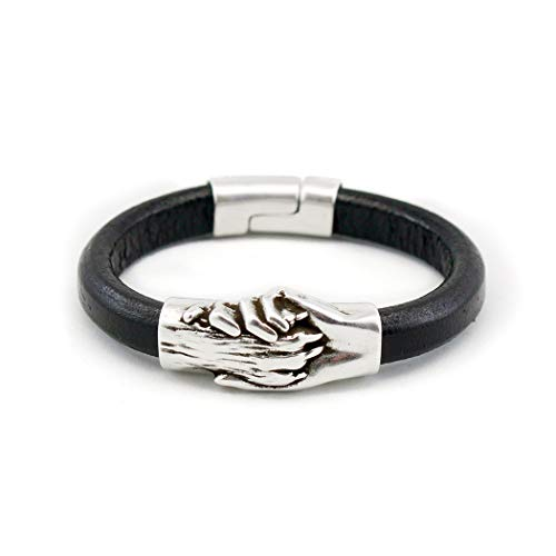 Silver Plated Hand and Dog Paw Symbol Bracelet, Genuine Leather Bracelet for Women and Men, Magnetic Clasp, Ideal for Pet Lovers and Pet Memorial, Thick Dyed Leather, Black Color, Extra Large