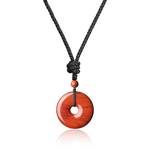 COAI® Collar Ajustable de Colgante Piedra Semipreciosa Dónut Redondo Jaspe Rojo Protección Curación