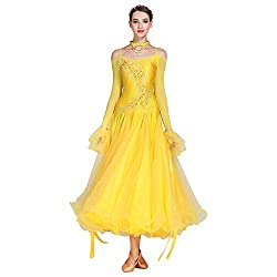Yellow Long-Sleeved V-Neck Standard Dance Dress