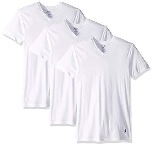 Polo Ralph Lauren Slim Fit w/Wicking 3-Pack V-Neck White/Cruise Navy Pony Print LG