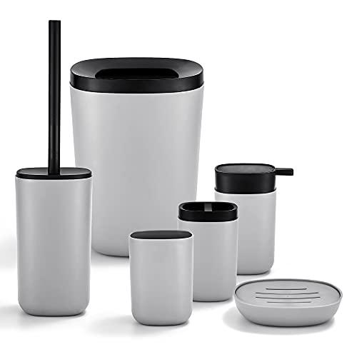 GRICOL Baño Accesorios 6-Set de 6 plásticos, Taza de Cepillo de Dientes, Cuenco de jabón, Cubo de Basura y Cepillo de Inodoro con Soporte, Gris