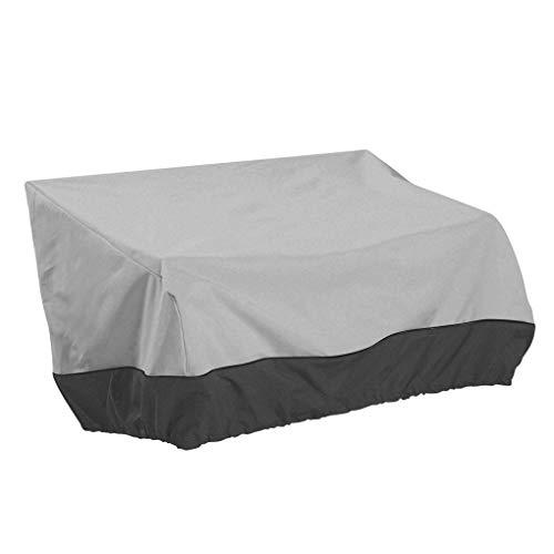 wanzhaofeng Gartensofa Slip-Over, wasserdichter Oxford-Stoff-Sitzschutz-Slipover, geeignet für 2-Sitzer-Freizeitbank-Sofa, farblich passend grau und schwarz, 147 * 83 * 79 cm