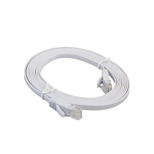 BiaBai Cable LAN de red Ethernet plano CAT6e Cable de conexión de cable Ethernet para computadora portátil de transmisión de alta velocidad para oficina en casa