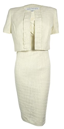 Nipon Boutique Women's Tropic Breeze Metallic Dress Suit (10, Beige/Gold)