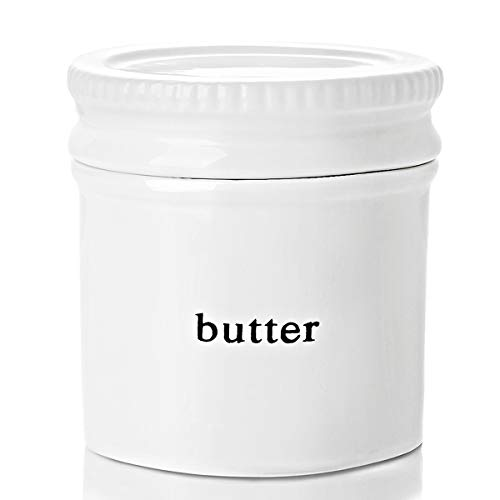 GDCZ Ceramics Butter Dish With Water LinePorcelain French Butter Keeper Crock With LidWhite