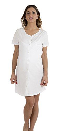 Premamy - Camicia Clinica per Premaman, Modello Aperto Davanti, Cotone Jersey, Pre-Post Parto - Bianco - IV (M)