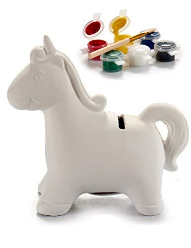 Hucha Unicornio de Cerámica para Pintar con Pintura Acrílica Lavable de 6 Colores más Pincel
