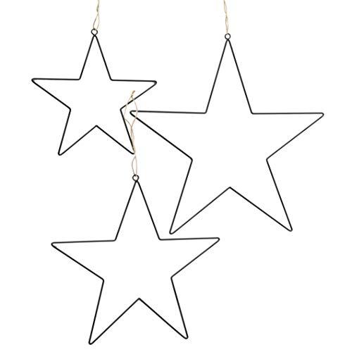Deko Stern im 3er Set schwarz - 30/40/50 cm - Metall Dekohänger Fensterdekoration Sterne