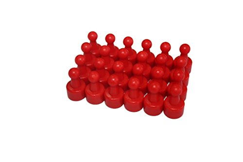 USKYMAG 24 Solid Magnetic Push Pins, Pawn Style-Perfect Magnetic Pushpins for Fridges, Maps, Whiteboards, Cabinets (red)