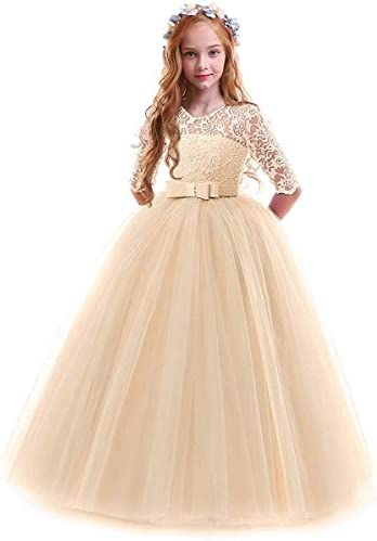 Toddler Girl s Embroidery Tulle Lace Maxi Flower Girl Wedding Bridesmaid Dress 3 4 Sleeve Long product image