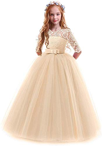 Toddler Girl's Embroidery Tulle Lace Maxi Flower Girl Wedding Bridesmaid Dress 3/4 Sleeve Long A Line Pageant Formal Prom Dance Evening Gowns Casual Holiday Party Dress Champagne 13-14