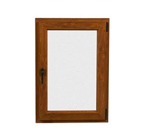 TermProtect | Ventana PVC 80 cm x 100 cm | Color Nogal | Oscilobatiente | Alto aislamiento termico y acustico | Vidrio Transparente | Practicable | Resistente al sol | Apertura Derecha