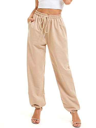 Xuvozta Jogger Sweatpants for Women with Pocket Casual Lounge Athletic Cotton Pants High Waist Baggy Sport Trousers Beige XS