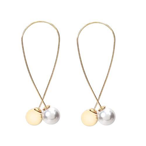 PULABO - Pendientes largos de perlas de imitación, color dorado de calidad superior y creativos