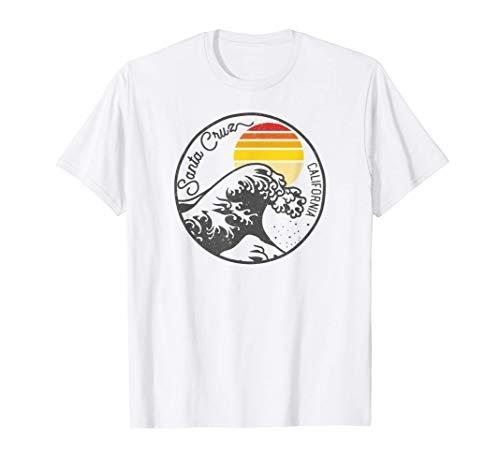 Años 70 Años 80 CA Retro Retro Atardecer Santa Cruz Camiseta