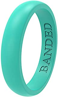 خاتم زفاف من السيليكون للرجال والنساء من BANDED GLORY - آمن على الجلد ، ناعم ، 5.5 مم و 8.7 مم عريض