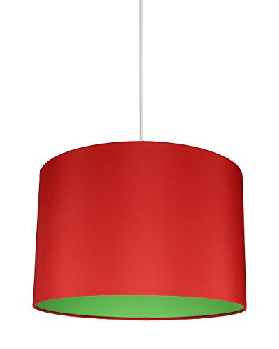 Urbanest Marie Duo Color Shade Pendant with Hanging Light Kit, Red Cotton with Green Lining, 15 1/2-inch Diameter, 10-inch Height