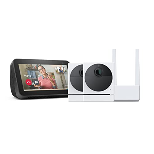 Wyze Cam Outdoor Bundle (Includes Base Station and 2 Cameras), 1080p HD Indoor/Outdoor Wire-Free Smart Home Camera with Night Vision, Compatible with Alexa, - 2 Camera Kit, with Echo Show