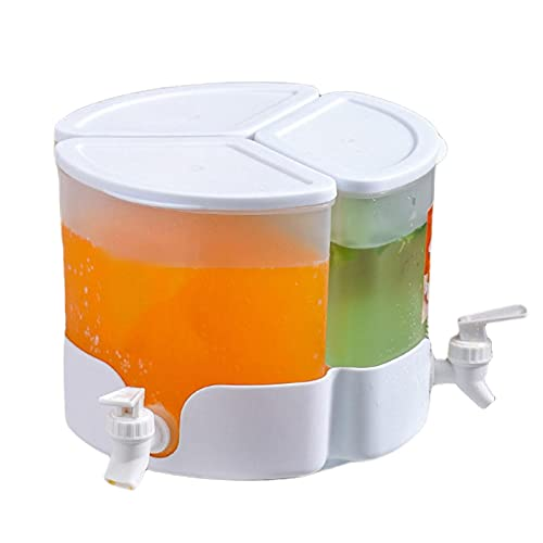 Dispensador De Agua, Dispensador De Agua para Nevera De 5,2 L con Grifos, Dispensador De Bebidas Giratorio De 360 °, Recipiente para Bebidas, Hervidor De Agua Fría para Frigorífico,Hacer Bebidas