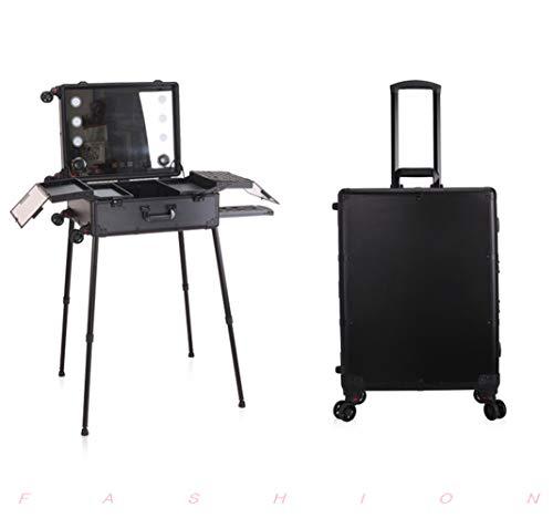 CLEAVE WAVES make-up tas op wielen met trek, cosmetica, met 6 lampen en scheidingswanden, gepersonaliseerde studio, met touchscreen, Bluetooth voor muziek Bluetooth
