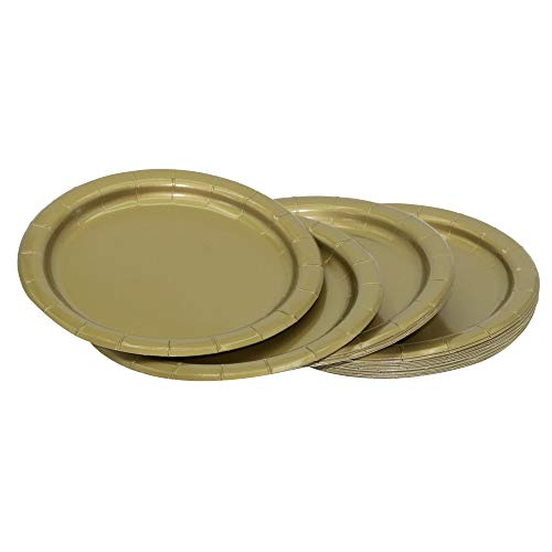 Ayush party Supplies Party Tableware Paper Plates for Weddings, Anniversary, Birthday, Multipurpose Occasions is Party Disposable Round Plates,Pack of 20(7inch/17cm) (Gold)