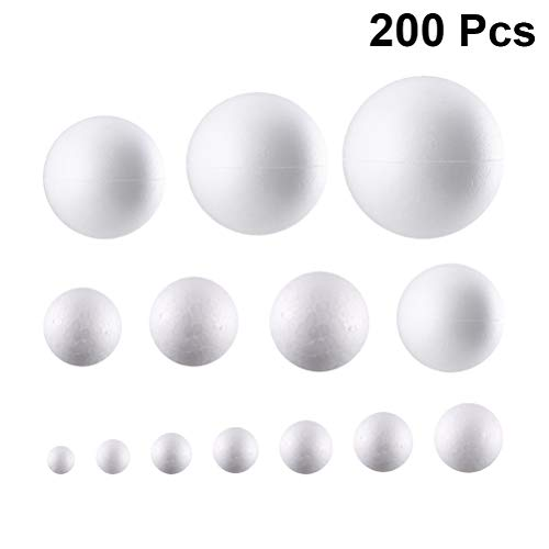 White, 120 PCS 120 PCS 5 Sizes White Foam Balls Polystyrene Smooth Ball Spheres Handmade Round DIY Foam Ball for Arts Craft Christmas Decorations Home Ornament