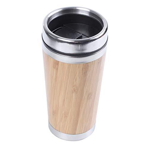 Nixi888 Taza de café de bambú de acero inoxidable con aislamiento al vacío, con cubierta a prueba de fugas, termo de café aislado al aire libre, taza reutilizable