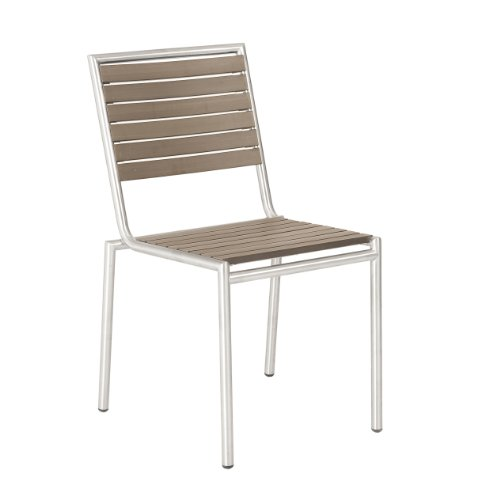 Hot Sale Euro Style Nathan Stacking Chair in Taupe Teak-like Slats and Stainless Steel, Set of 4