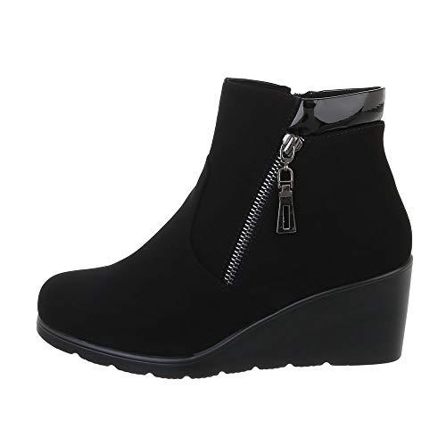 Ital-Design damesschoenen enkellaarzen met wigvormige laarzen