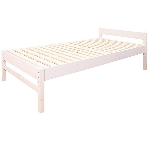 (JAJAN) 三段階高さ調節 天然木 すのこベッド -アブサロム- シングル ベッド ホワイト 耐荷重150kg 保証期間2年