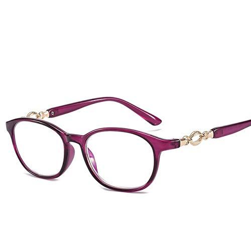 HaiShan HSYJ Modische Lesebrille Anti Blueray Brillen Unisex Metalleinsatz Presbyopie Brille +1,0 +1,5 +2,0 +2,5 +3,0-7.16.5 (Color : Purple, Size : +150)