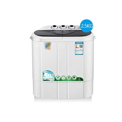 lavadora secadora Pequeño Doble Tina De Lavadora Mini 280W, Elución Integrado PP Lavadora Doméstica Protección Del Medio Ambiente, Lavadora De Color Azul Claro De La Capacidad Antibacteriana De 2,5 Kg