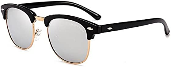 Virtyou Classic Half Frame Clubmaster Sunglasses TAC reinforce polarized FDA Approved