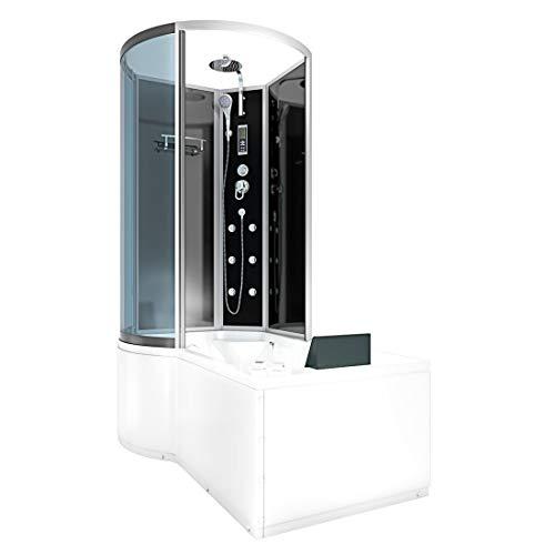 AcquaVapore DTP8050-A303R Whirlpool Wanne Duschtempel Dusche Duschkabine 98x170 JA mit 2K Scheiben Versiegelung
