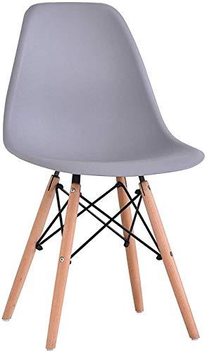 BARONI Sedia da Pranzo o Ufficio con Gambe in Legno 54X46X82cm Grigia 1 Pezzo