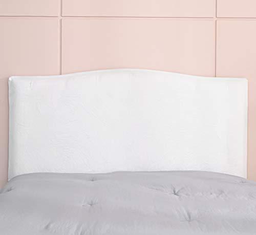Funda para cabecero de cama de protección para cabecero de cama elástica de color liso para dormitorio (120-140), color blanco