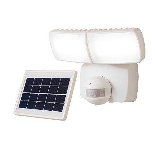 Defiant 180-Degree White 90-Watt Equivalent Motion Activated Outdoor Solar Powered Integrated LED Twin Head Flood Light